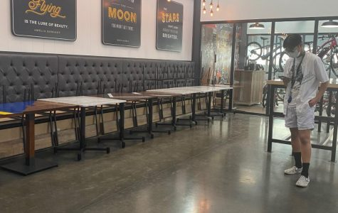 Long Beach Hangar empty as small restaurants are forced to close because of Covid-19.