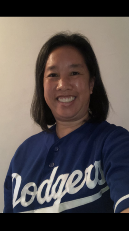 Mrs. Lew celebrates the Dodgers taking the World Series.