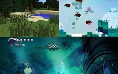 Minecraft by Mojang (top left,) Hyper Light Drifter by Heart Machine (top right), and Hollow Knight by Team Cherry (bottom.)